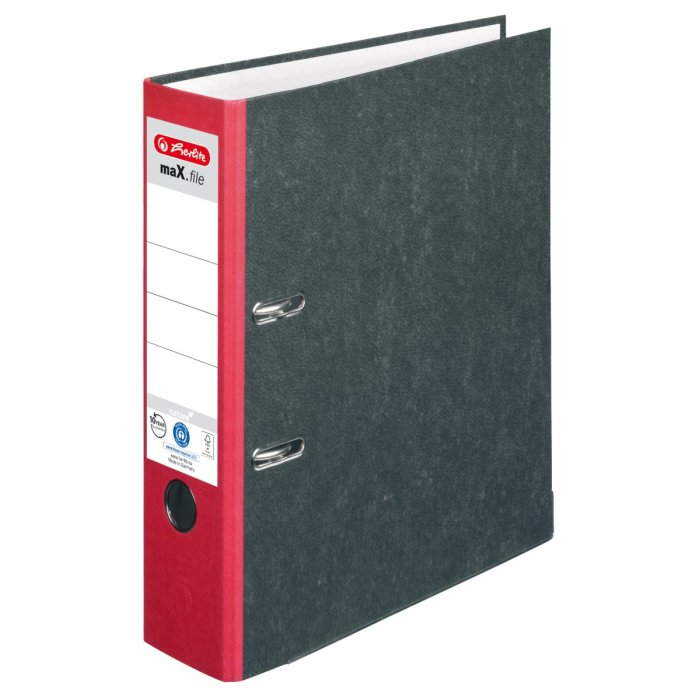 herlitz Ordner maX.file nature A4 80mm rot/Wolkenmarmor
