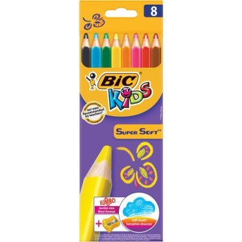 BIC KIDS Dreikant-JUMBO-Buntstifte SuperSoft, 8er Kartonetui