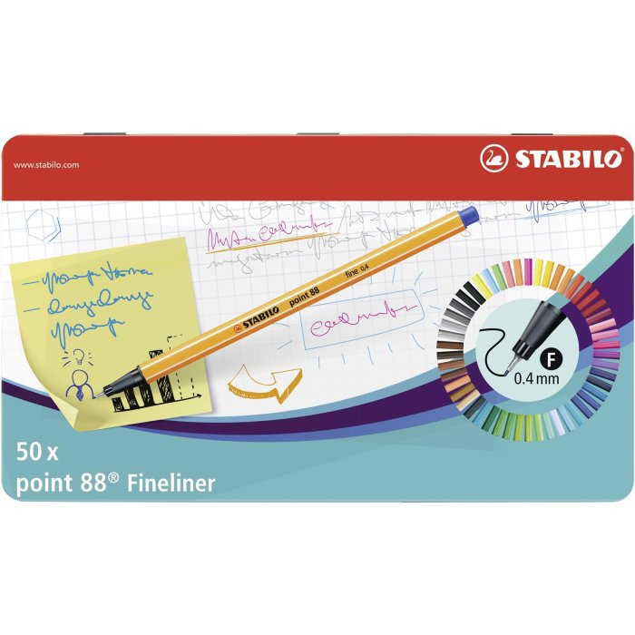 Fineliner - STABILO point 88 - 50er Metalletui - mit 47...