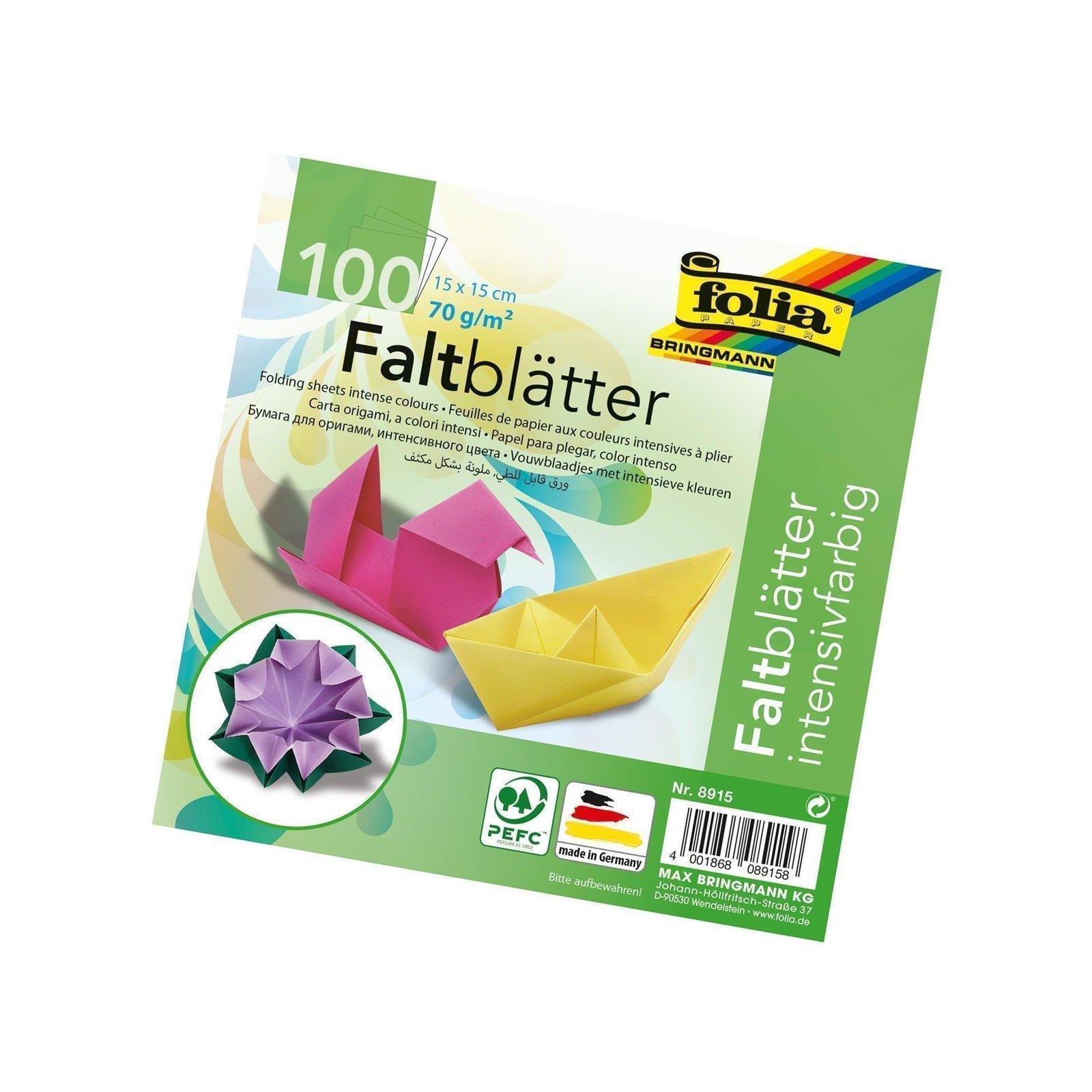 folia Faltblätter 150 x 150 mm 70 g//qm 100 Blatt durchgefärbtes Papier