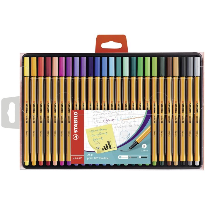Fineliner - STABILO point 88 - 25er Pack - mit 25...