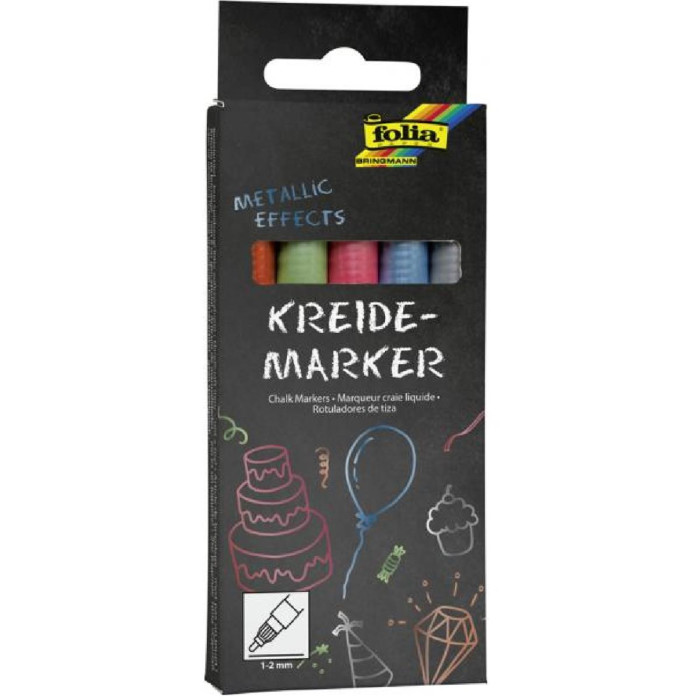 folia Kreidemarker Metallic Effects, 5er Set