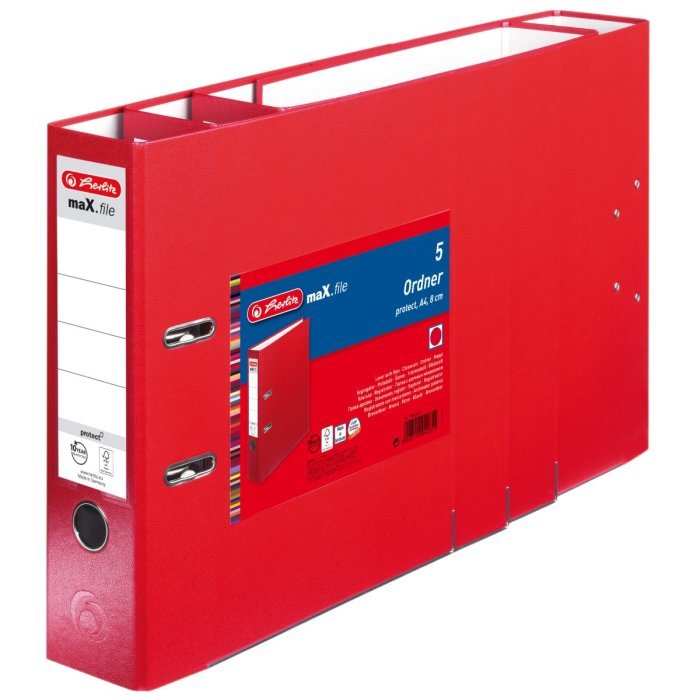 herlitz Ordner maX.file protect A4 80mm rot 5er Pack