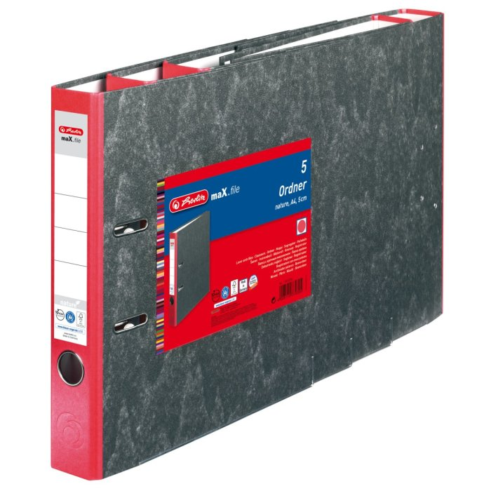 herlitz Ordner maX.file nature A4 50mm rot/Wolkenmarmor...