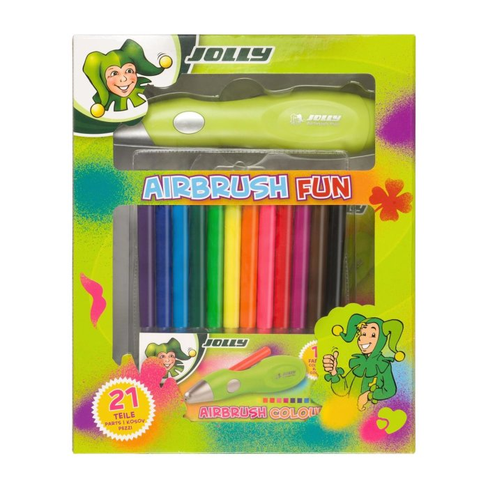 JOLLY Kinder-Airbrush-Set 21-teilig mit Schablonen
