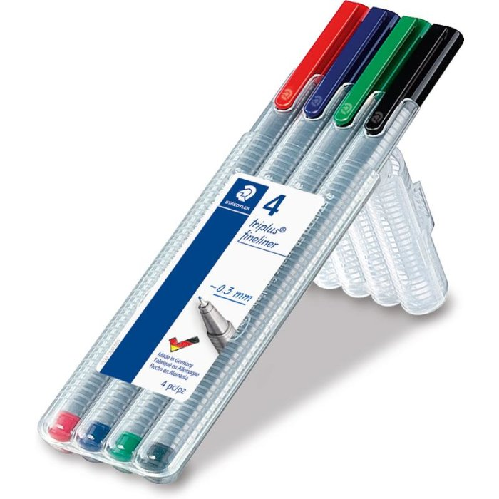 STAEDTLER Fineliner triplus 4er BRILLIANT COLOURS
