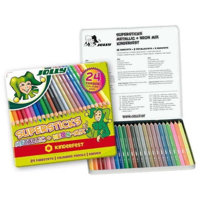 JOLLY Buntstifte Supersticks Metallic + Neon Mix 24 Stk....