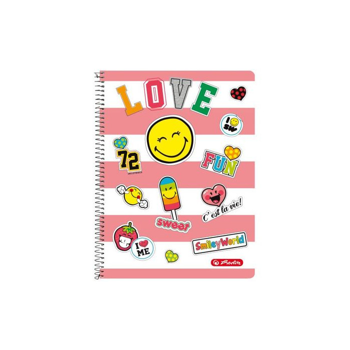 herlitz Collegeblock SmileyWorld Girly A4 kariert