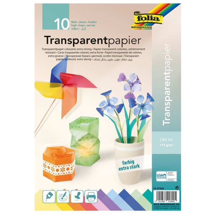 folia Transparentpapier-Bastelheft 200 x 300 mm 42 g//qm 10 Blatt