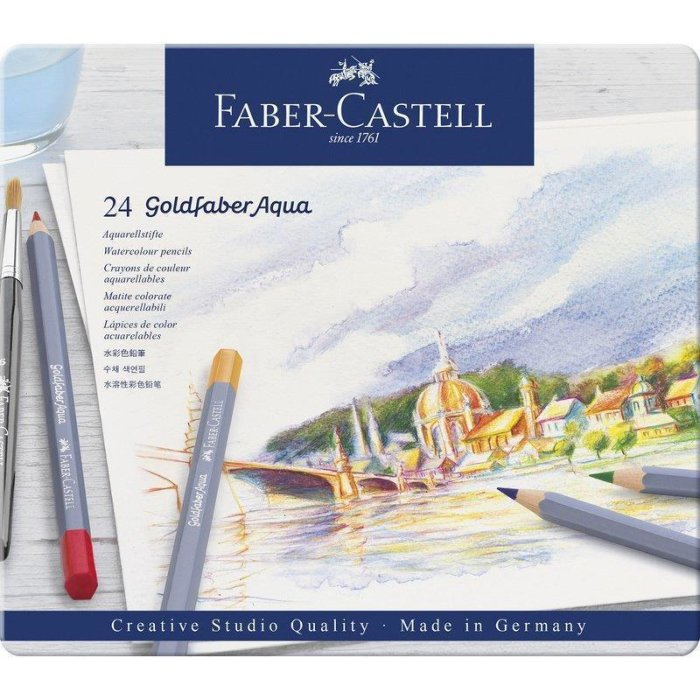 FABER-CASTELL Aquarellstifte GOLDFABER, 24er Metalletui