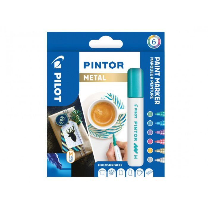 PILOT Pigmentmarker PINTOR, medium, 6er Set METAL MIX